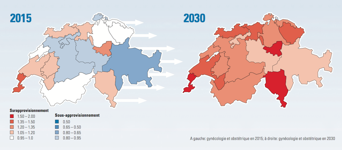 A gauche: gynécologie et obstétrique en 2015; à droite: gynécologie et obstétrique en 2030