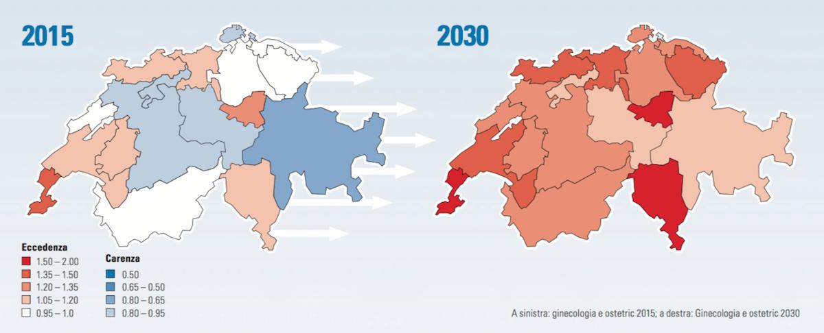 A sinistra: ginecologia e ostetric 2015; a destra: Ginecologia e ostetric 2030